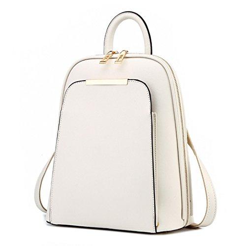 Damen Rucksackhandtaschen Schultertaschen Schulrucksack Tagesrucksack Laptoptasche Leder Nicht-Gerade Weiss