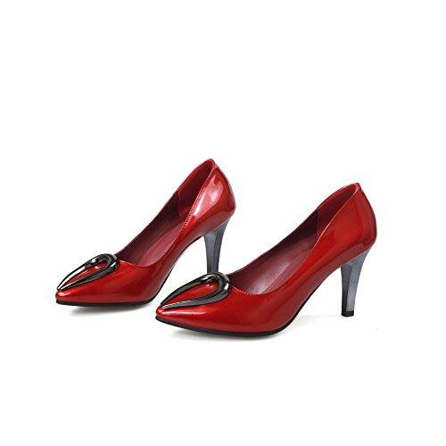 AllhqFashion Femme Tire Pointu Stylet Couleur Unie Chaussures Légeres Rouge
