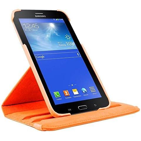 EnGive 360° Drehbares Ledertasche Schutzhülle Leder Tasche Samsung Galaxy Tab 3 7.0 Lite T110 T111 (7 Zoll) Hülle (Samsung Galaxy Tab 3 7.0 Lite, Orange)