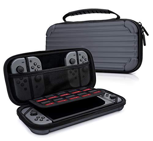 sche Aluminium Design Case für Nintendo Switch, Joy Con Controller & min. 10 NDS Spiele - Tragetasche Hardcase Schutzhülle in Grau ()