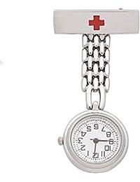 Orologio da infermiera Flyproshop per donna, orologio da infermeria FOB Orologio da tasca paramedico medico da tasca da uomo Design a quadrante ottagonale Clip-on da donna a sospensione in acciaio ino