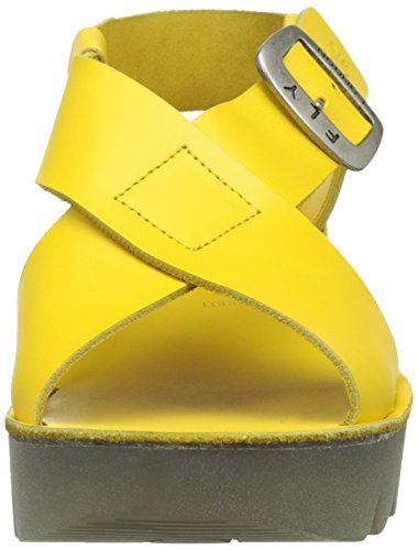 FLY London Yild880, Sandales Bout Ouvert Femme Jaune (Lemon 005)