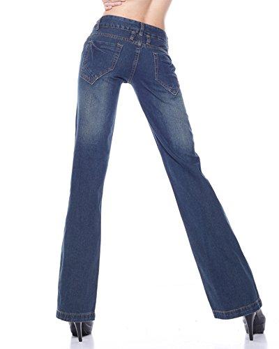 Donne Vita Alta Pantaloni Larghi Baggy Jeans Straight Palazzo Pantaloni Sciolto Blu