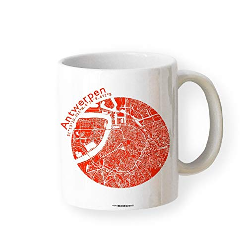 Geschenk-Tasse ANTWERPEN Becher Stadt-Plan Karte in 5 Farben