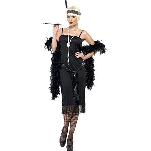 (Flapper Kostüm Schwarz mit Kleid Gürtelschärpe und Stirnband, Small)