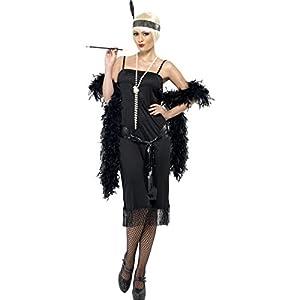 Smiffys-28605S Miffy Disfraz de Joven a la Moda de los años 20, con Vestido, cinturón fajín y Banda para el Pelo, Color Negro, S-EU Tamaño 36-38 (28605S)