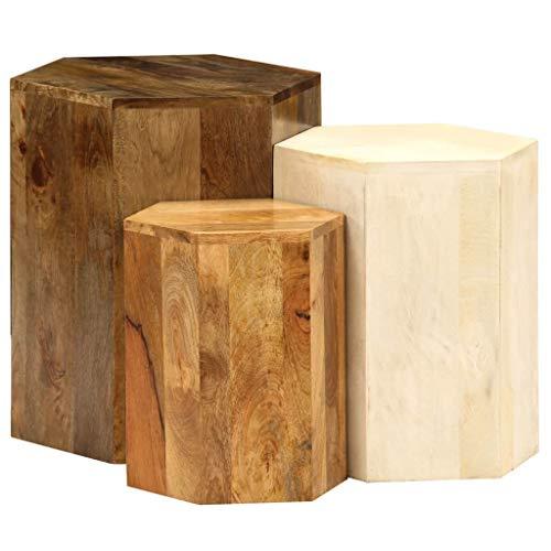 Festnight- Tables gigognes Table Basse 3pcs Table de Salon Table Basse Design en Bois Massif Marron et Blanc