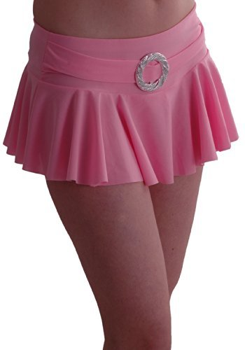 Eye Catch TM - Cynthia Damen stretch Mini Rock geriffelt mit Gürtelschnalle in Neonfarben Baby Pink M/L