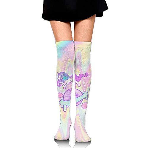 Galleria fotografica Watercolor Unicorns And Donuts Big Girls/Women Cartoon 3D Pattern Over Knee High Socks Compression Socks Unicorn Planet
