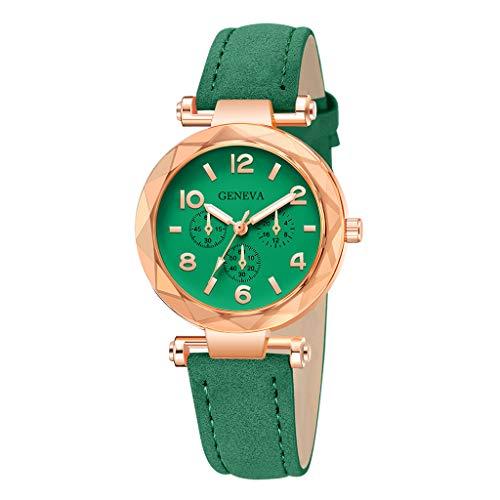 LILIGOD Fashion Damenuhr Römische Ziffern Leder Analog Quarz Armbanduhren Mode Schön Uhren Schmuck Damen Elegant Business Watches Temperament Wild Uhr Lederuhr Geschenk Armband -