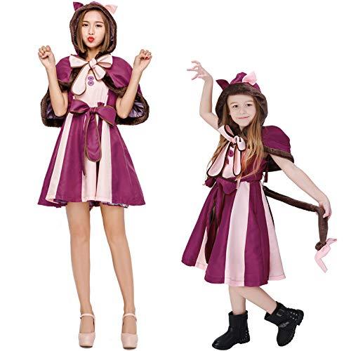 Junge Kostüm Wunderland Im Alice - COSOER Alice Im Wunderland Schmollende Katze Cosplay Kostüm Smiley Fantasy Cat Halloween Eltern-Kind-Kleidung,Children-XL