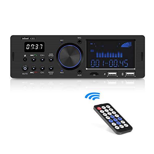 ieGeek Autoradio Bluetooth Freisprecheinrichtung, Dual-LCD-Display mit Uhr, MW und FM, RDS (Radio Data System), Stereo-Autoradio (30 Speicherplätze), USB/AUX-Eingang / MP3 / FLAC/SD-Karte (Stereo Uhr)