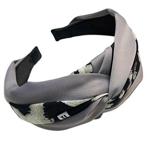 Aawsome Damen Haarband im Vintage-Stil, gedreht, geknüpft, Stoff, Farbblock, Leopardenmuster, breit, Retro-Stil, gerüscht, elastisch, lässig, 3 Farben grau (Make-up Einfache Halloween Niedliche Und)