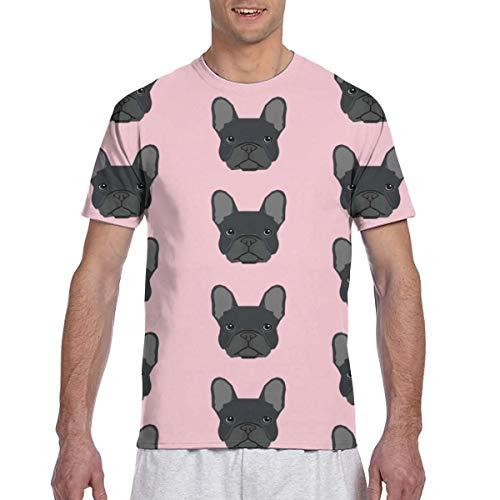 Zhgrong Men Tee Shirts French Bulldog Black Head Short Sleeve T-Shirts Crew Neck T Shirt