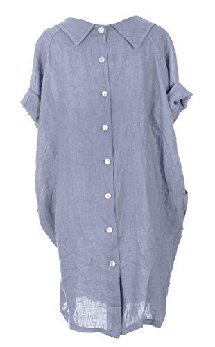 Womens italienischen Lagenlook schrulligen Kurzarm Runder Kragen 2 Tasche Taste Back Plain Leinen Kleid Einheitsgröße Plus Kornblume (Blau)
