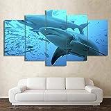 TYOP Quadro su Tela 5 Pezzi, Arte murale, Quadri di Animali con squalo Blu Profondo, Decorazioni per la casa