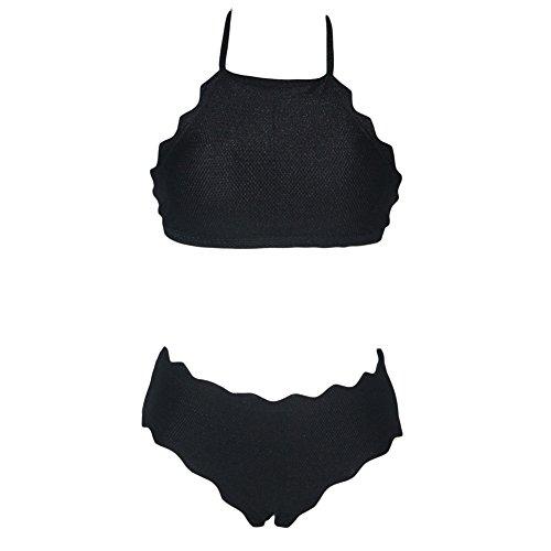 PU&PU Frauen-Beach-Halter Bandeau Bikinis Zwei Stücke Set Badeanzug Wireless Gepolsterte BH Polyester Black