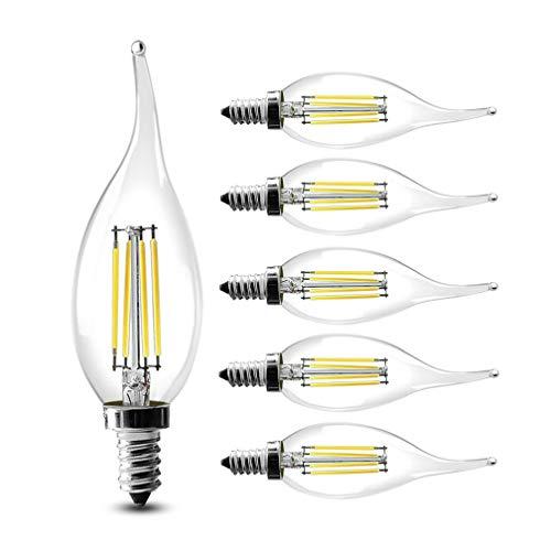 Atongham Dimmbare LED Kerzenleuchter, 40 W, 60 W, entspricht E14 Sockel, C35, Klarglas, Flammenform, gebogene Spitze, 360 Grad Abstrahlwinkel, 6 Stück, Cold White, 6W -
