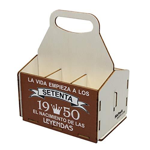 Portacervezas de madera, paquete de seis cervezas, caja portadora de seis, portacervezas de seis, regalo cerveza, cumpleaños 70 años, regalo 70 años, de madera, 70 cumpleaños, cumpleaños hombre, 1950