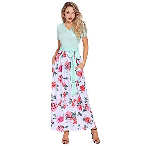 MENSDXA Kleiden Sommer Neue V-Ausschnitt Kurzärmelige Taille Binden Böhmischen Print Kleid Kleid, Grün, M - Print Taille Binden
