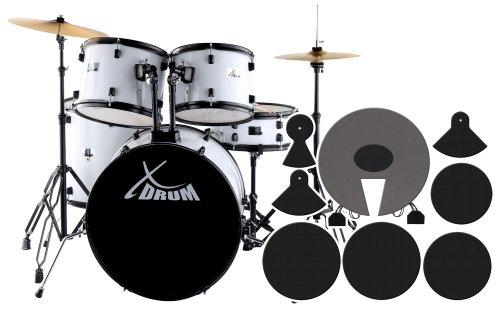 """XDrum Rookie Schlagzeug Set Drumset Weiß (22"""" BD, 12"""", 13"""", 16"""" TT, 14 SN, Übungsbecken bestehend aus einem Satz Hi-Hat-Becken 14"""" und 1 Crash-Ride-Becken 16"""", inkl. DVD und Schlagzeugdämpferset)"""