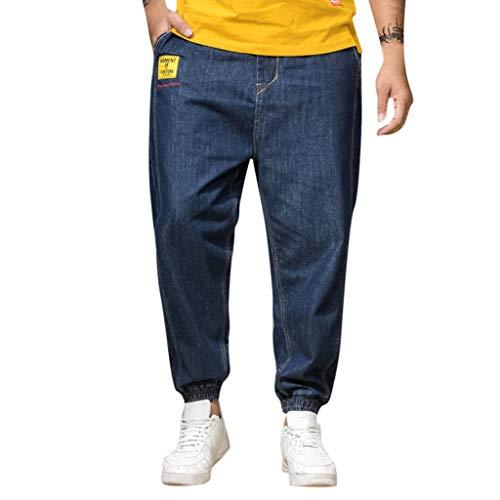 Mosstars ❤️ Pantaloni Harem da Uomo Cotton Moda Pantaloni Jeans Unisex Casuale Denim Pantaloni Pantaloncini Cavallo Basso Jogging Casuale Forti Elastico alle Caviglie (30-46)