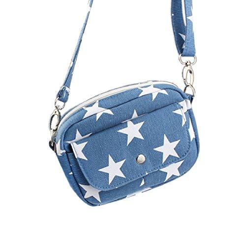Sannysis Frauen Canvas Mini Kleine Cross Body Handtasche Hellblau