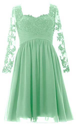 MACloth Vintage Long Sleeves Mother of Bride Dress Short Evening Formal Gown Menthe