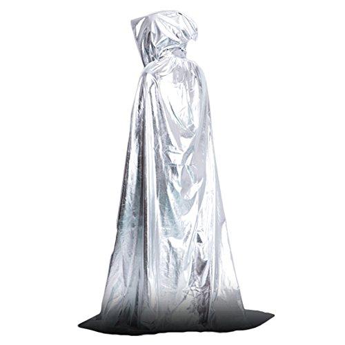 HJKGSVdv Mittelalterlicher Kapuzenumhang Vampir Kapuzenumhang Hexenumhang Bodenlanges Halloween Kostüm Silver (Silver Ghost Kostüm)