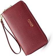 FOXER Ladies's Genuine Leather Wallets for Women RFID Blocking Zip Around Fashion Clutch Purse Credit Card