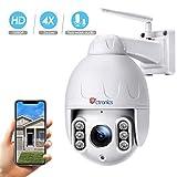 PTZ Dôme Caméra de Surveillance WiFi Extérieure Ctronics Caméra IP Extérieure sans Fil HD 1080P 355 ° 120° 4X Zoom Optique Audio Bidirectionnel Vision Nocturne de 50 m Imperméable IP65