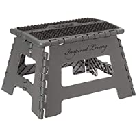 "Inspired Living Folding Step Stool Heavy Duty 9"" High ME9359-GRYBL"