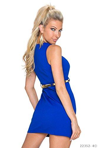 Stilvolles Etui-Minikleid mit Zier-Knöpfen im Uniform-Look Royalblau