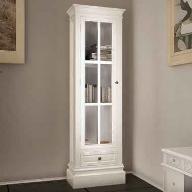 Wooden Bookcase Cabinet Wirh 3 Display Shelves & 1 Bottom Drawer Painted In White In Versatile & Stylish Design - Great Organizer In Any Area Of The House By eCommerce Excellence