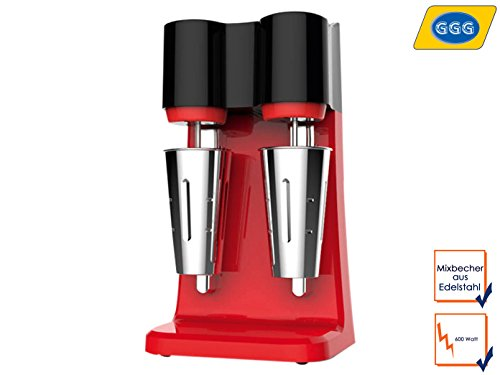 Profi Doppel BARMIXER Design in Rot – Gusseisenfuß sorgt für Standfestigkeit – Mixbecher aus - Blender Barmixer