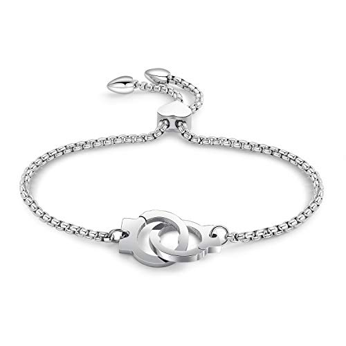 bigshopDE Damen Herren Armband Edelstahl Silber Handschellen Liebe Geschenk Mädchen Armkette