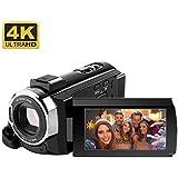 Cámara Vídeo RegeMoudal 4K Videocámara Ultra HD 1080P 48 Megapíxeles Pantalla Táctil de 3 Pulgadas Función WiFi Rotación de 270° Visión Nocturna 16X Digital Zoom 128G con Batería (No Incluye Tarjeta)