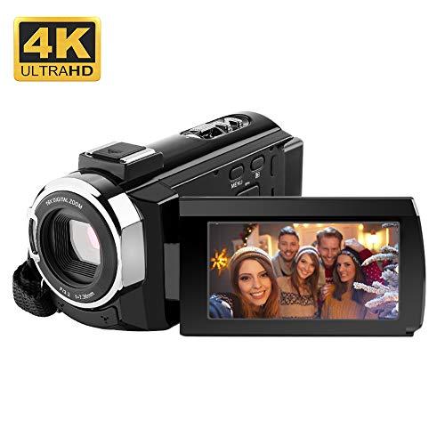 4K Camcorder,RegeMoudal Videocamera WiFi,24MP 16x Zoom Touchscreen Capacitivo Visione Notturna a Raggi Infrarossi 3,0 ' Schermo LCD 270 °Rotazione Nero