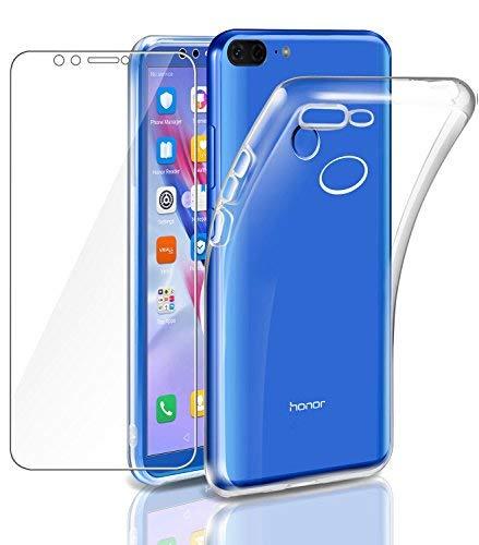 """Leathlux Coque Honor 9 Lite Transparente + Verre trempé écran Protecteur Souple Silicone Étui Protection Bumper Housse Clair Doux TPU Gel Case Cover pour Huawei Honor 9 Lite 5.65"""""""