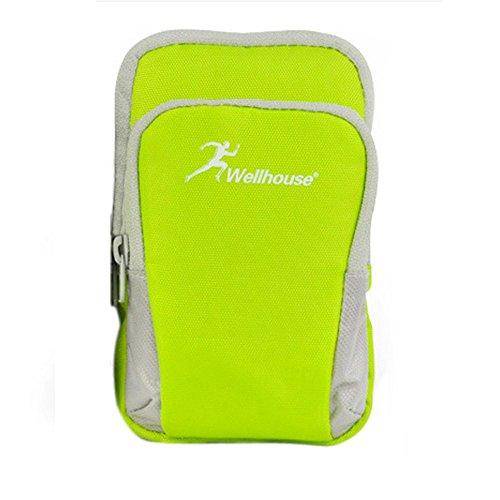 Greenery Sportarmband Handytasche Armtasche für iPhone Smartphone iPod MP3 MP4 Kamera Karten Sporttasche mit Reißverschluss Tasche für Sport Laufen Jogging Trekking Wandern Radfahren (S, Grün)