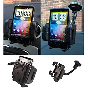TheTechTree - In Car Holder Kit Windschutzscheibe Vent Mount Cradle mit kostenlosen KFZ-Ladegerät für Huawei Ascend D1, P1, P1 S, D quad XL, G526, W1, G615, U8860 Honor, U8800 IDEOS X5 Titan, U8150, U8510 X3, U8650 Sonic, U9000 X6, U8180 X1, U8500, U8850 Vision, U8800 Pro, U8350 Boulder, G7010