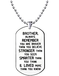 Brother You Are Braver Than You Believe Stainless Steel Beads Necklace For Brother Inspirational Jewelry