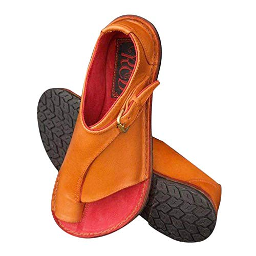Goglor Cómodos Zapatos Ortopedicos Mujer Plataformas Planas Sandalias, Toe Bunion Terapia Corrección Sandalias Mujer Niña Verano 2019 PU Suave Silp-On Comfy Sandals para Femeninos Ocasionales Viaje