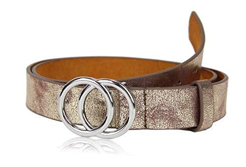 irisaa Schmaler Damen Gürtel mit runder Metallschnalle zwei Ringen, 2,8 cm breit und 0,4 cm stark, Länge:85, Farbe:Gold new look mit Silberring
