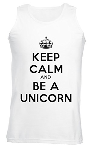 Keep Calm And Be A Unicorn Uomo Canotta T-shirt Bianco Cotone Girocollo Maniche Corte White Men's Tank T-shirt