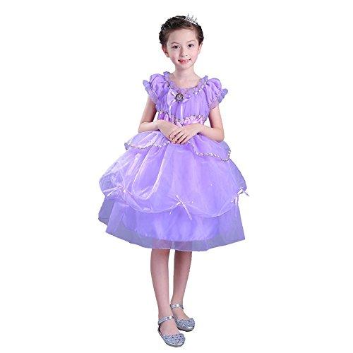 Blume Mädchen Kleid Kinder Tüll Chiffon Hochzeit Prinzessin Kinder Brautjungfer Weihnachten Halloween Kleider . Purple . (Kostüme Ballsaal Halloween Tänzer)