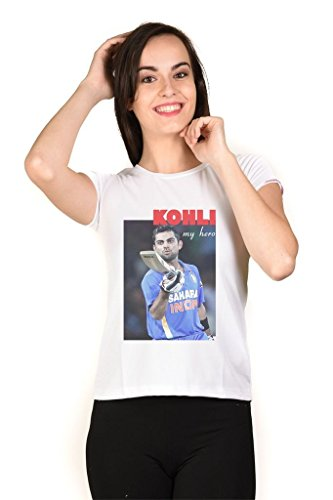 LetsFlaunt Virat Kohli T-shirt White Girls Dry-Fit-X-Large Nw