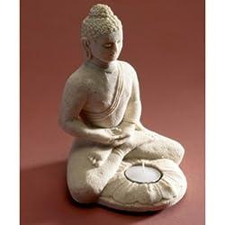 Buda con portavelas fabricado con arena blanca. Regalo perfecto para día de la madre