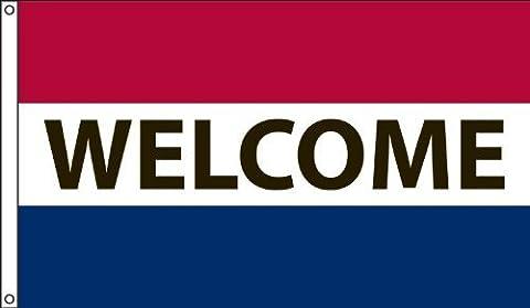 Amérique du Drapeau Company MF3x 5nwel13-Foot par 5Nylon Message Welcome drapeau rouge blanc et bleu rayures horizontales par Amérique du drapeau Company
