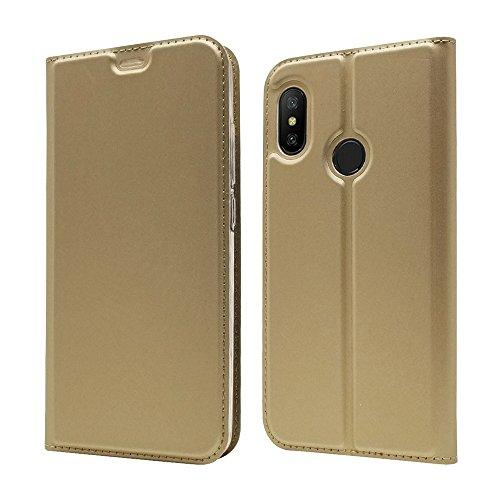 LAGUI Funda Xiaomi Mi A2 Lite, Ultrafina Carcasa Minimalista Tipo Libro con Tapa Imantada y Ranura para Tarjeta y Soporte Horizontal, Oro